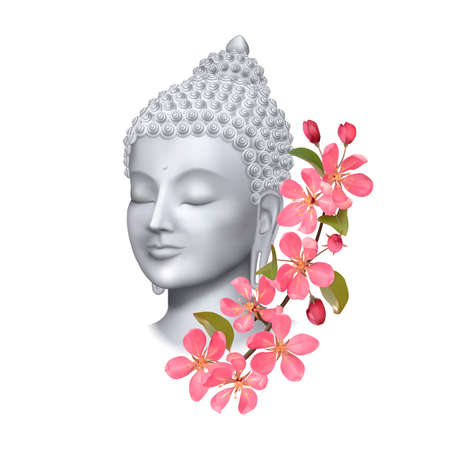 Buddha face with pink cherry flowers print. Esoteric vector illustration with Buddhism symbol, spiritual art, tattoo.