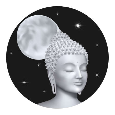 Buddha face with night sky, moon and stars. Esoteric vector illustration with Buddhism symbol, spiritual art, tattoo. Illustration