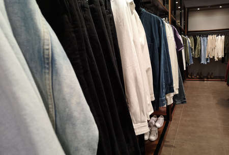 Row of clothes garment autumn and winter fashion collection