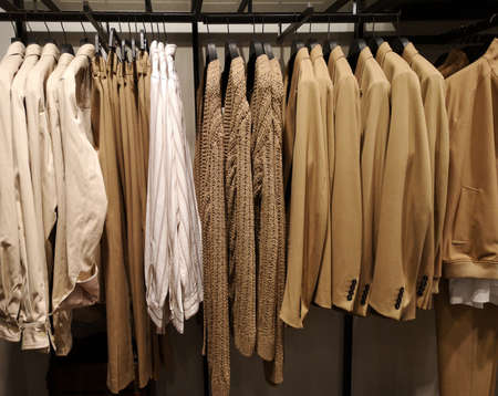 Row of clothes garment fashion beige collection