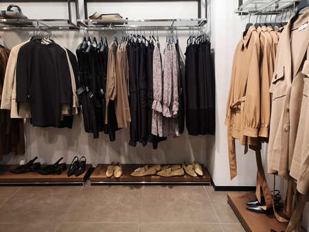 Row of clothes garment spring, autumn and winter woman fashion collection