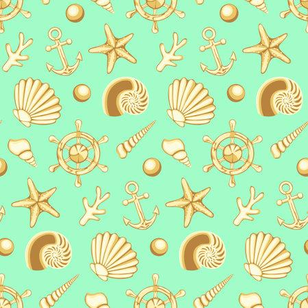 Hand drawn vector sea seamless pattern
