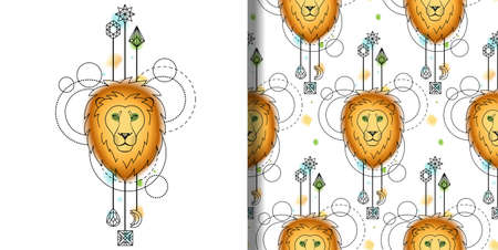 Abstract techno watercolor print and seamless pattern with lion and geometric elements. Modern wallpaper for textile and tshirt prints, tattoo.