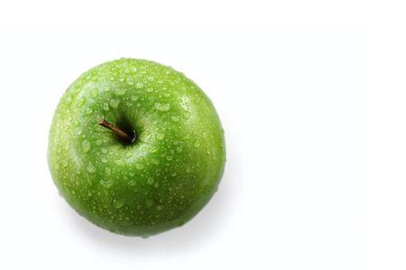 Wet Granny Smith Apple On White Background Stock Photo - 2969314