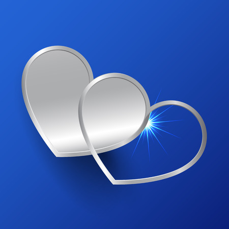 heavy heart: Decorative hearts on a blue background
