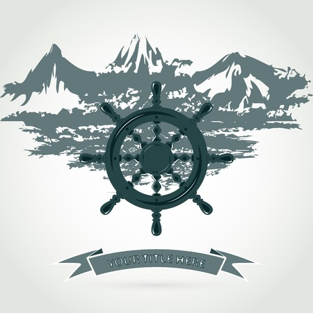 steering wheel: Illustration steering wheel of the ship against the sea and the mountains