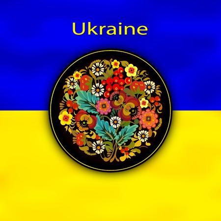 ukrainian flag: Painting on the wood on the Ukrainian flag\ Illustration