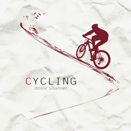 Cyclist on the background of crumpled paper