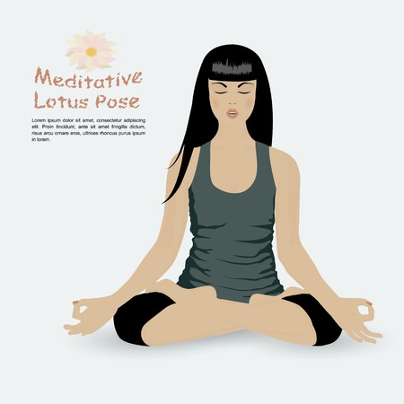 meditative: Girl in meditative lotus position