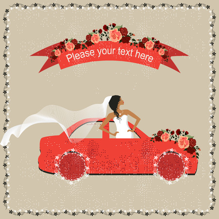 betrothal: Wedding invitation with bride in the car and place for text Illustration