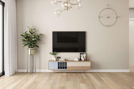 modern living room style tv unit designing with lighting and wood flooring Standard-Bild