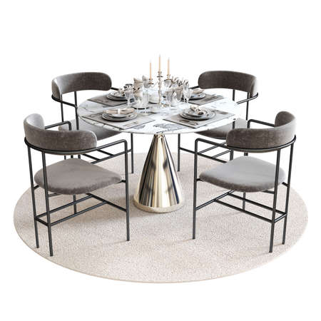 Interior Dining set with white background