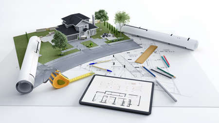 3D rendering of a house architecture model with blueprints plan and tablet design plan .