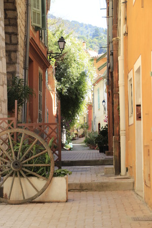 toulon: A cart-wheel in an alleyway in Toulon, France