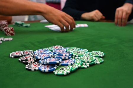 Poker table with chips Stock Photo - 4457194