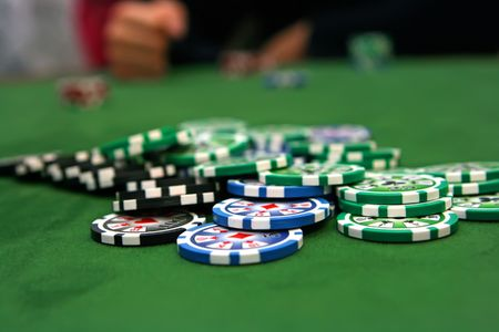 Poker table with chips photo