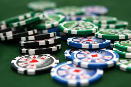 Poker table with chips Stock Photo - 4457227