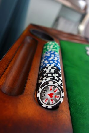 Poker table with chips Stock Photo - 4457202