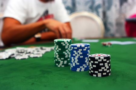 Poker table with chips Stock Photo - 4457222