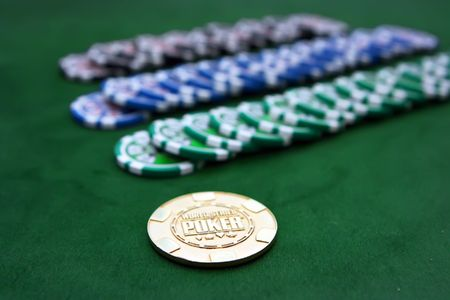 Poker table with chips Stock Photo - 4457226