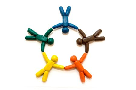 Multicolored clay people in circle isolated on white background Stock Photo - 4457165
