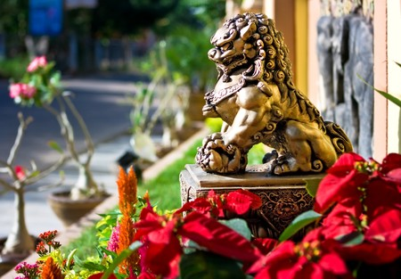 Bronze lion sculpture at the entrance to the house photo