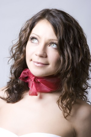 Beautiful and fresh young brunette model smiling Stock Photo - 4483858