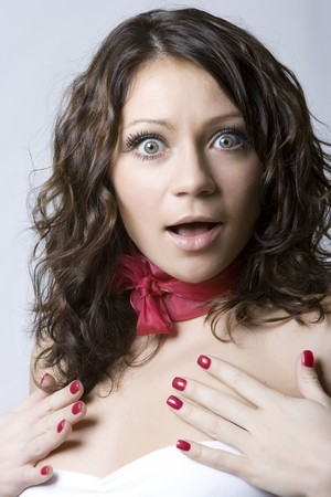 Beautiful young model open-mouthed with surprise Stock Photo - 4483854