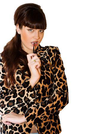 Beautiful teacher in leopard jacket on white background photo