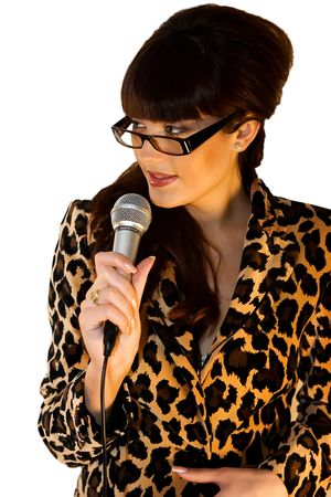 Beautiful artist in leopard jacket cutout on white background photo