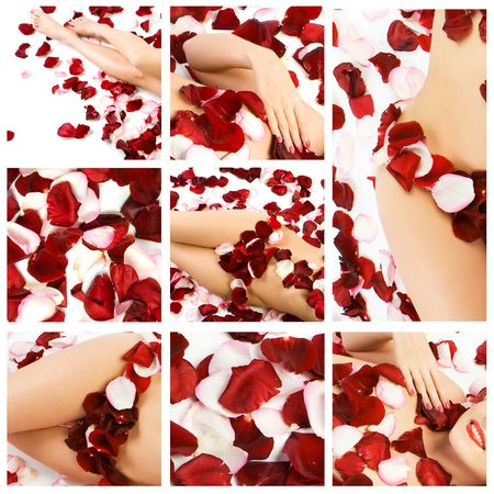 Collage of several photos for spa and body care and beauty industry