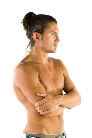 mann mit langen haaren: Jung, gut aussehend und sexy Mann isolated on white background