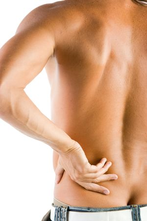 Muscular man touching his back in pain photo