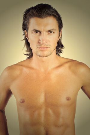 chest hair: Handsome and sexy brunet male athlete isolated on white Stock Photo