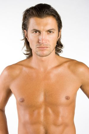 man long hair: Handsome and sexy brunet male athlete isolated on white Stock Photo