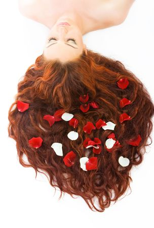 Close-up beautiful luxury fresh bright young lady lying in studio shot with rose petals in her red (brown) long hair