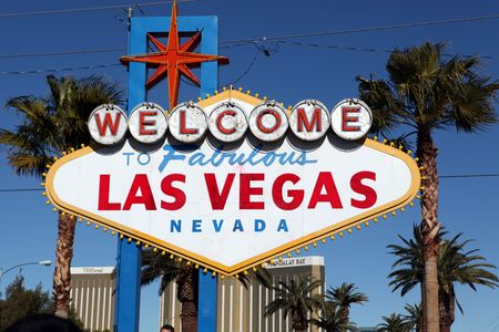 a mirage: Welcome to fabulous Las Vegas sign at daylight Stock Photo