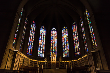LUXEMBOURG, LUXEMBOURG - April 28, 2017: Interior, inside of Notre-dame cathedral in Luxembourg a beautiful spring day, Luxembourg on April 28, 2017