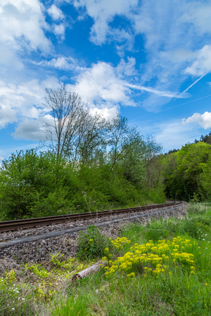Scenic landscape with blue puffy clouds sky and train rail track green trees crossing a forest Stock Photo