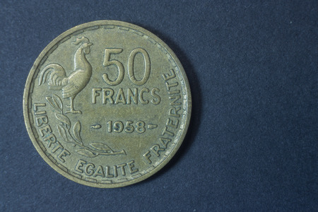 Fifty francs 1958 scarce France tail coin, vintage antique old, difficult and rare to find. Liberte, Egalite, Fraternite and rooster.