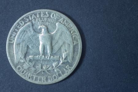 pluribus: A quarter american dollar 1944 USA tail coin, vintage antique old, difficult and rare to find. Eagle e pluribus unum