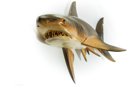 Shark handmade sculpted on wood isolated in white background Stock Photo