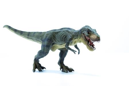 緑恐竜ティラノサウルス ・ レックスの攻撃位置 - ホワイト バック グラウンドで口を開く 写真素材