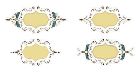 Elegant thin vector holiday ornament frame set. Leafs frame for design, date cards, wedding invitations. Old fashioned art work frames. Set of vintage design elements. Illustration