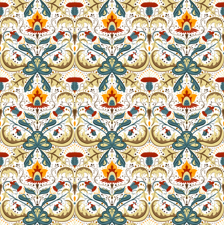 textile image: Gorgeous flower pattern vector image with small details ornament. Red, yellow, sea blue flowers with brown leafs for linens and home textile design. White background.