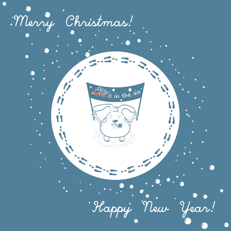 banderole: Funny bunny with a banner: Snow is in the air and snowflake on the tongue. Merry Christmas and Happy New Year holiday greeting card with comic rabbit and footprints. Winter card with footprints