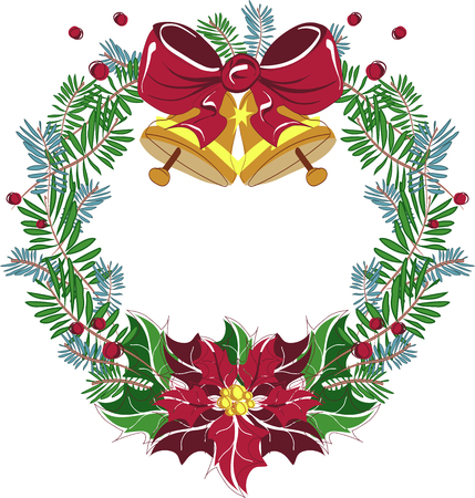 beautiful christmas wreath vector for holidays and celebrations with red bow good for christmas cards - Beautiful Christmas Cards
