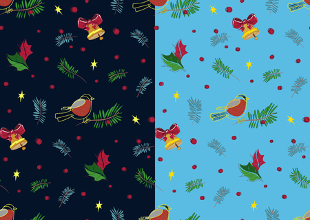birdsong: Christmas bullfinch and bell pattern set in blue. Vector.