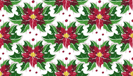 milkweed: Flower poinsettia Christmas seamless pattern. Vector illustration. Perfect for textile design.