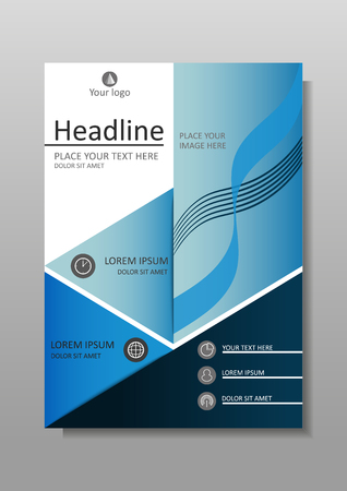 Blue A4 Business Book Cover Design Template. Good for Portfolio, Brochure, Annual Report, Flyer, Magazine, Academic Journal, Website, Poster, Monograph, Corporate Presentation, Conference Banner. Illustration